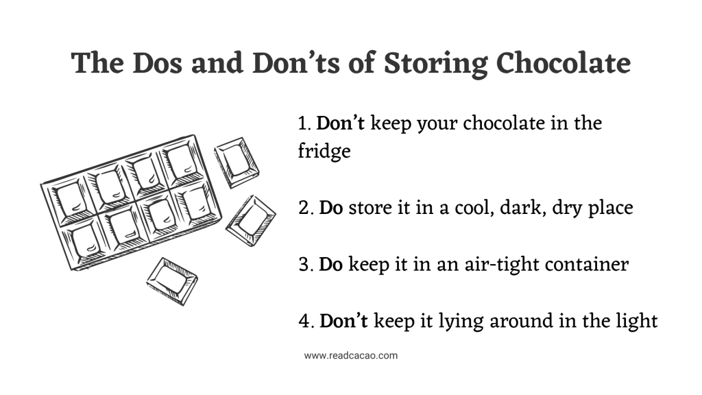 list do's don'ts how to store chocolate info